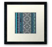 Teal, Aqua & Grey Vintage Bohemian Wallpaper Framed Print