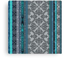Teal, Aqua & Grey Vintage Bohemian Wallpaper Canvas Print