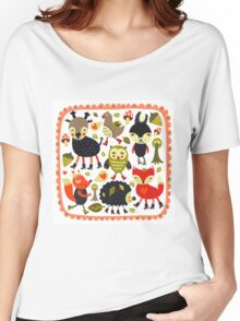 Woodland animals and birds Women's Relaxed Fit T-Shirt