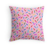 Bright Colorful Rainbow Sprinkles In Pink Throw Pillow