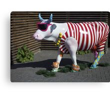 Painted Cow on Holiday - at Floriade Canvas Print
