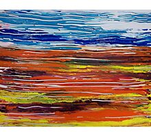 Orange Blue Yellow Ultramarine Lines Painting Landscape Photographic Print