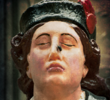 A ships figurehead of Elisabeth Fry with a real fly on her nose Sticker