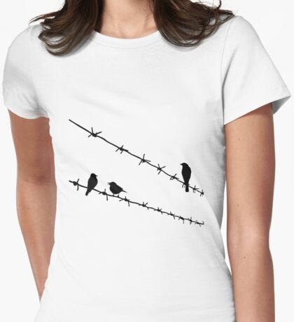 raven wire mesh Womens Fitted T-Shirt