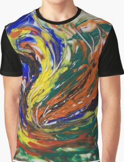 Orange Blue Yellow Green Abstract Swirls Graphic T-Shirt