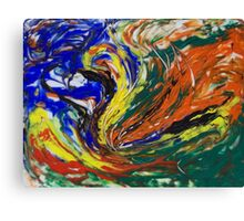 Orange Blue Yellow Green Abstract Swirls Canvas Print