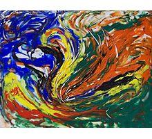 Orange Blue Yellow Green Abstract Swirls Photographic Print