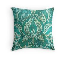 Cyan and white vintage pattern Throw Pillow