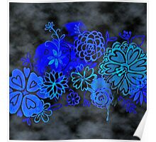 Watercolor Floral on Black Grunge Poster