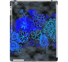 Watercolor Floral on Black Grunge iPad Case/Skin