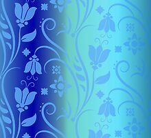 Vintage Aqua Blue Floral Pattern Nature Fine Art by Vicky Brago-Mitchell