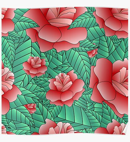 Beautiful Rose, floral pattern. Poster