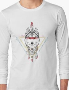 wolf indian warrior Long Sleeve T-Shirt