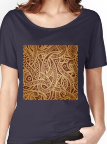 Gold and brown vector vintage pattern Women's Relaxed Fit T-Shirt