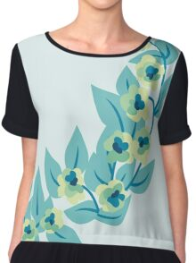 Green Flowers and Leaves Floral Print Chiffon Top