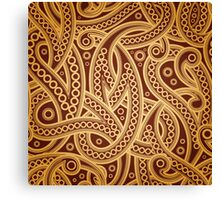 Gold and brown vector vintage pattern Canvas Print