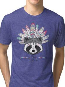 raccoon aztec style Tri-blend T-Shirt