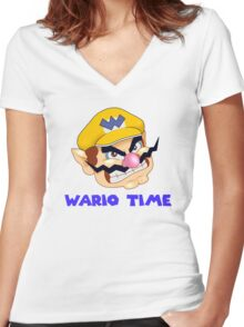 Wario Time! Women's Fitted V-Neck T-Shirt