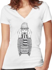 Hand Drawn Fashion Illustration of Doggy Hipster Women's Fitted V-Neck T-Shirt