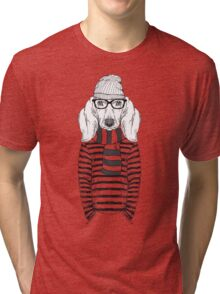 Hand Drawn Fashion Illustration of Doggy Hipster Tri-blend T-Shirt