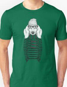 Hand Drawn Fashion Illustration of Doggy Hipster Unisex T-Shirt