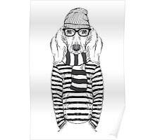 Hand Drawn Fashion Illustration of Doggy Hipster Poster