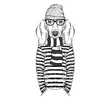 Hand Drawn Fashion Illustration of Doggy Hipster Photographic Print