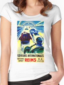 """REIMS"" Grand Prix Vintage Auto Race Print Women's Fitted Scoop T-Shirt"