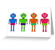 Colourful Robots Greeting Card