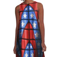Superheroes - Red, Blue, White Stars A-Line Dress