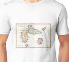 Vintage Map of Guadeloupe (1780) Unisex T-Shirt
