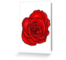 Open Red Rose Greeting Card