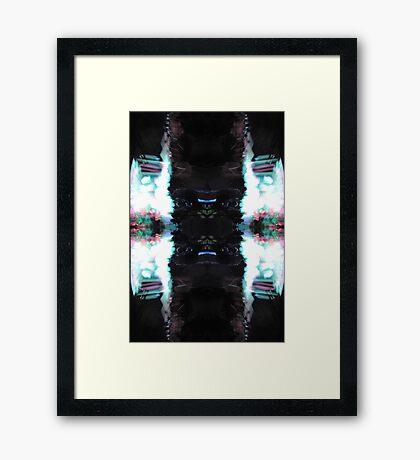 Black White Blue Pink Abstract Framed Print
