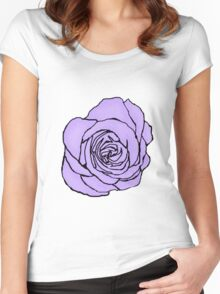 Lavender Open Rose Women's Fitted Scoop T-Shirt