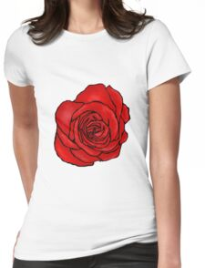 Open Red Rose Womens Fitted T-Shirt
