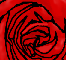 Open Red Rose Sticker
