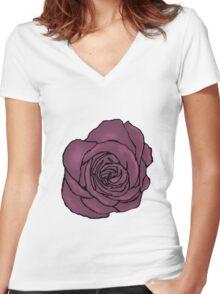 Dusky Pink Open Rose Women's Fitted V-Neck T-Shirt