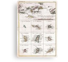 Vintage Islands of The Caribbean Map (1780) Canvas Print