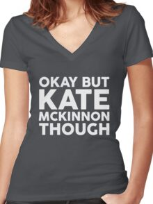Kate McKinnon tho. (dark background) Women's Fitted V-Neck T-Shirt