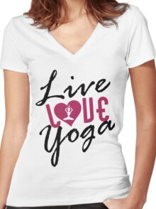 Live, Love, Yoga Women's Fitted V-Neck T-Shirt