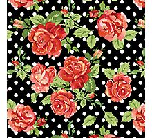 Shabby Chic black,red,green, pattern Photographic Print
