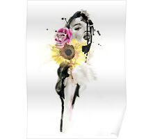 BLOOM - Ink and Charcoal Flower Portrait Poster
