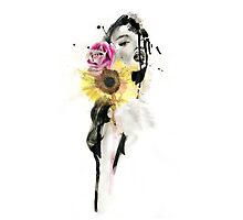 BLOOM - Ink and Charcoal Flower Portrait Photographic Print