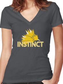 Stylized Team Instinct Print Women's Fitted V-Neck T-Shirt