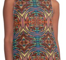 Circular Orange Blue Blurry Psychedelic Print Contrast Tank