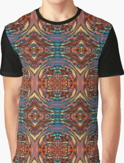 Circular Orange Blue Blurry Psychedelic Print Graphic T-Shirt