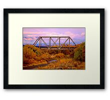 A Railroad Truss Bridge over a dry gulley in New Mexico Framed Print