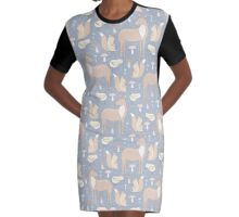 Whimsical Deer, Squirrel, & Bird Collection Graphic T-Shirt Dress