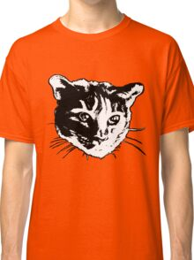 Cool Cat Head Graphic ~ black and white Classic T-Shirt