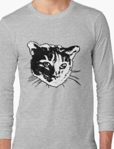 Cool Cat Head Graphic ~ black and white Long Sleeve T-Shirt